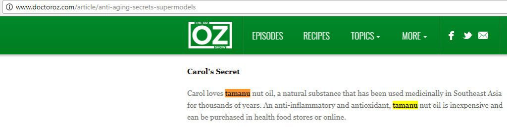 Dr Oz Tamanu Oil