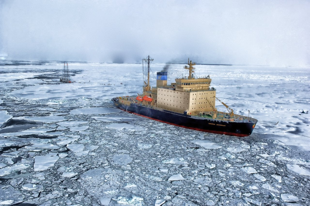 ship in arctic ocean