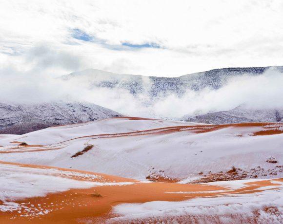 Sahara snow (Zineddine Hashas-Geoff Robinson, NPR)