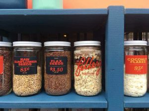 Jars of seeds at the Fillery