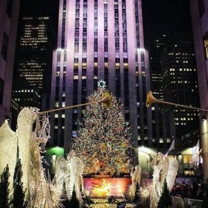 Rockefeller Center annual Christmas tree seen at night