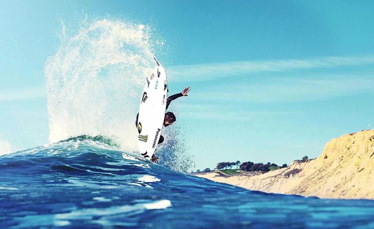 surfer splashing