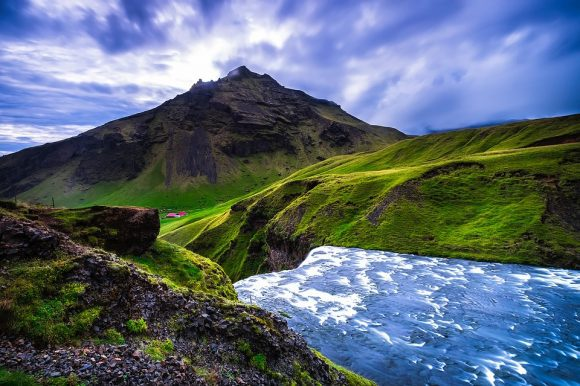Iceland Mountains Rapids Clouds River Stream Sky