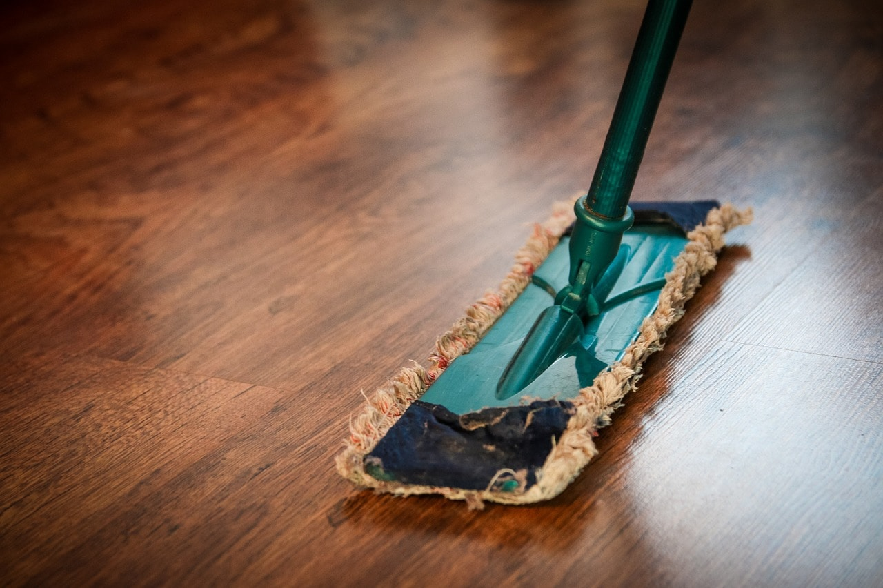 mopping wooden floor