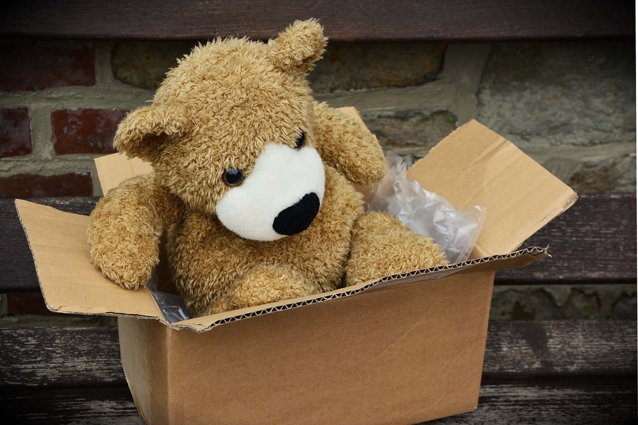a teddy bear in a box