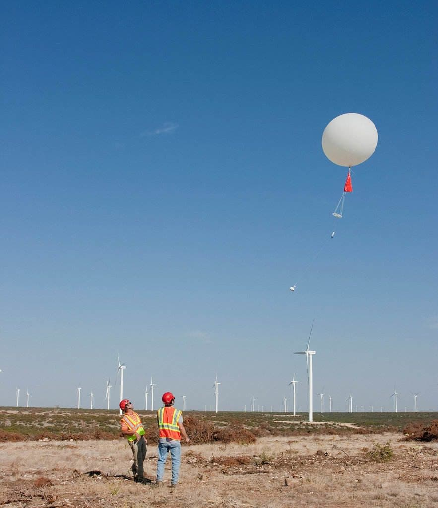 A radiosonde launch on the Ocotillo Wind Farm in Texas