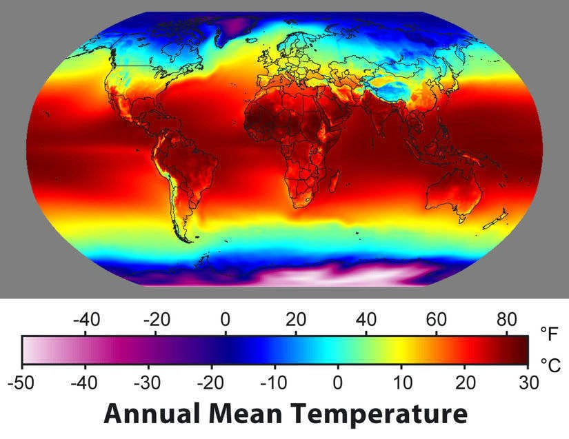 Annual average temperature