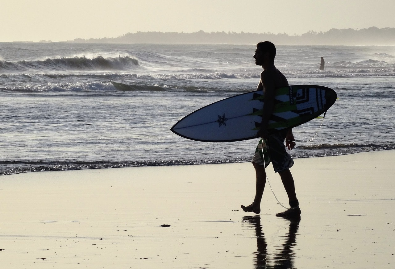 surfer in Balinese beach