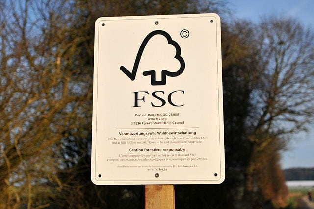 FSC Sign around the area of certified forest