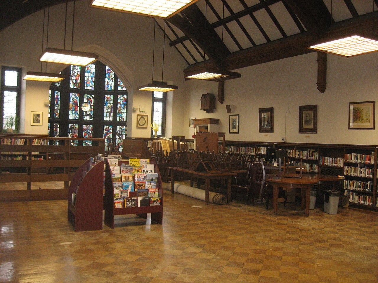 A public library with cork flooring