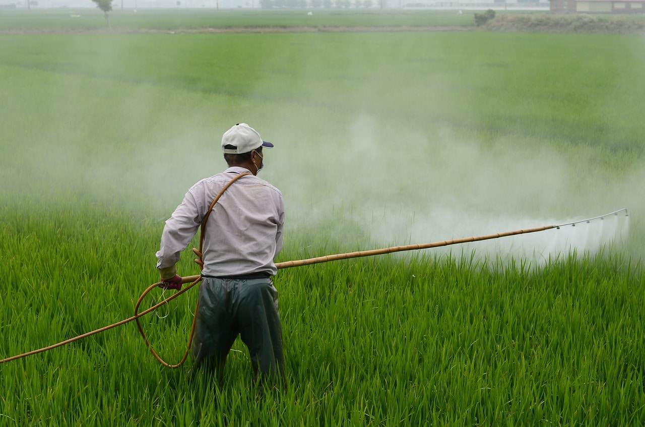 farmer spraying pesticide