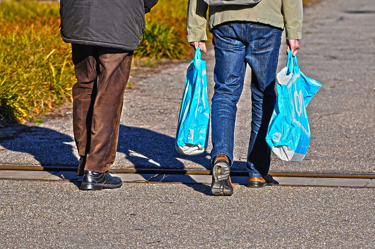reduce grocery bags by taking the reusable one every time you go shopping