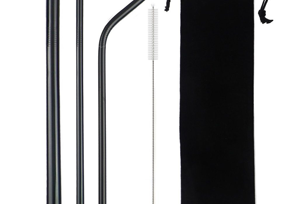 Black Smoothie Reusable Metal Straws