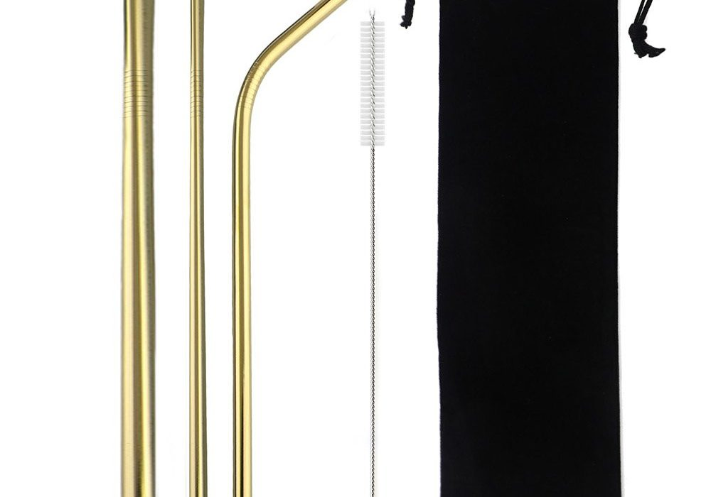 Gold Smoothie Reusable Metal Straws