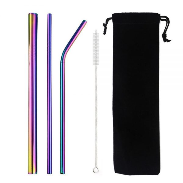 Rainbow Smoothie Reusable Metal Straws