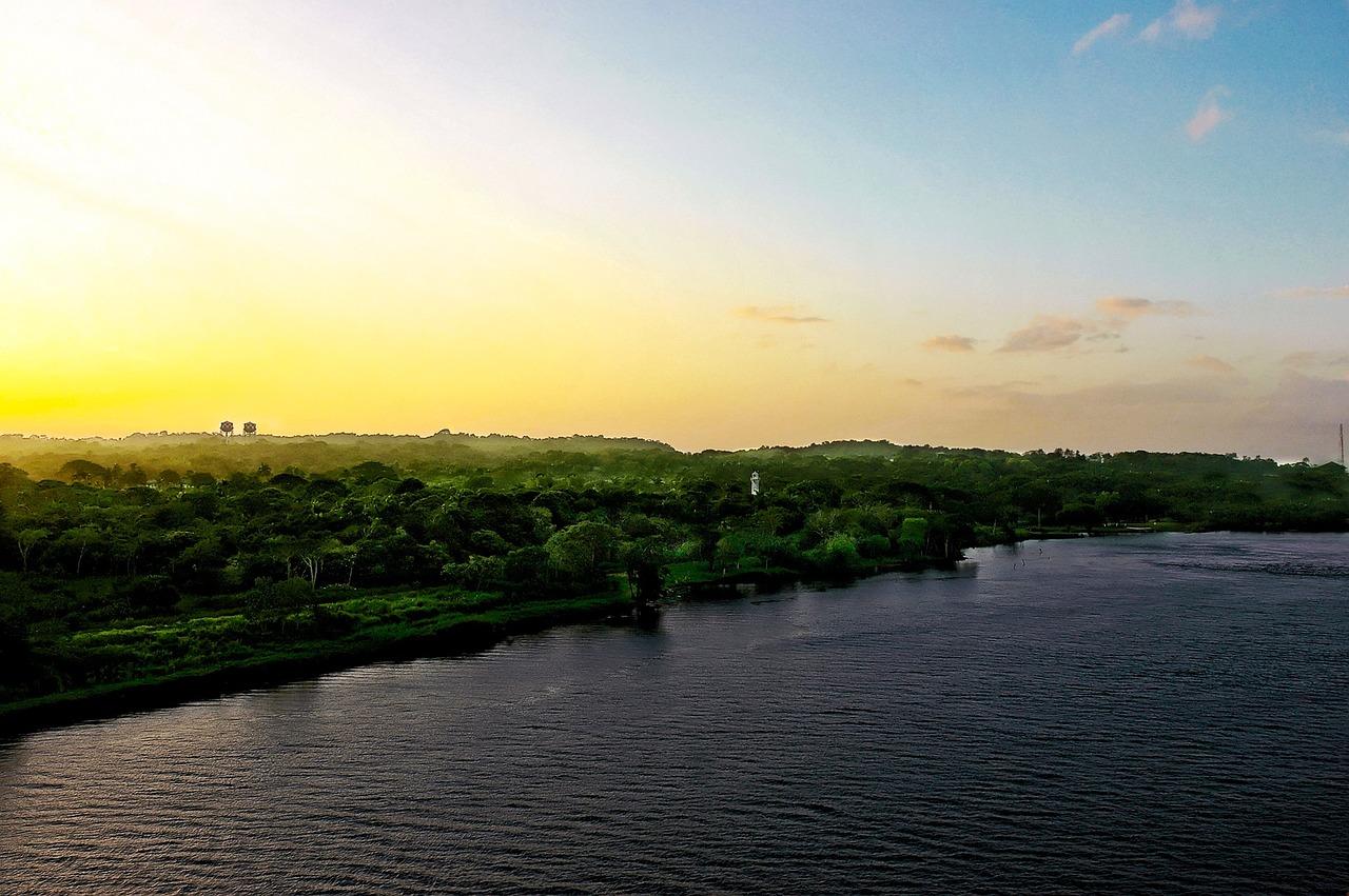 sunrise in panama canal
