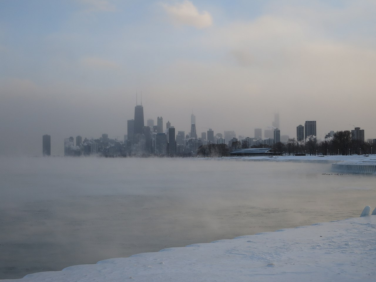 polar vortex in Chicago by edward stojakovic Wikimedia Commons