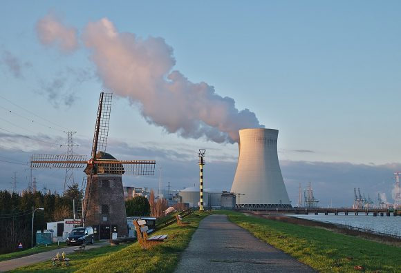 windmill and nuclear power plant cooling tower by Trougnouf Wikimedia Commons