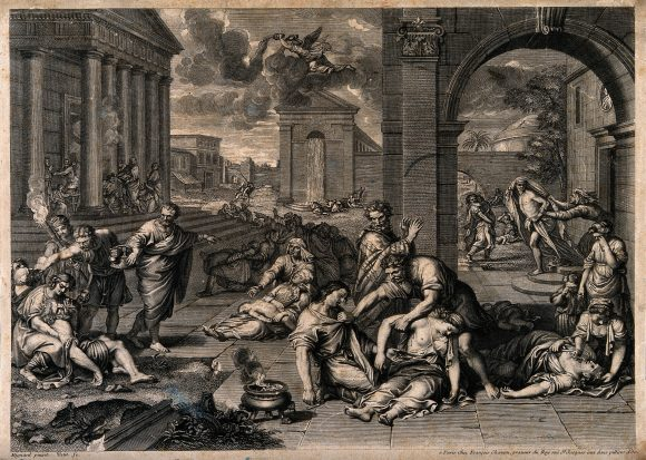 The plague of the Philistines at Ashdod. Engraving by Petit