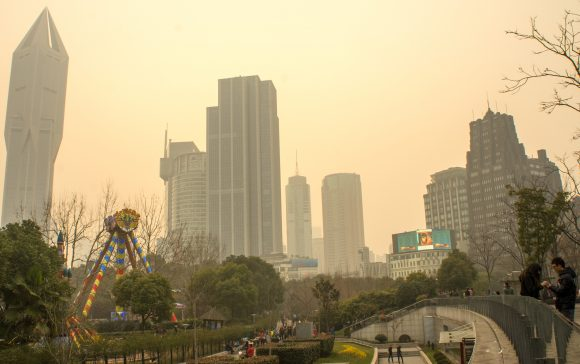 Sunset over People's Square on a polluted day