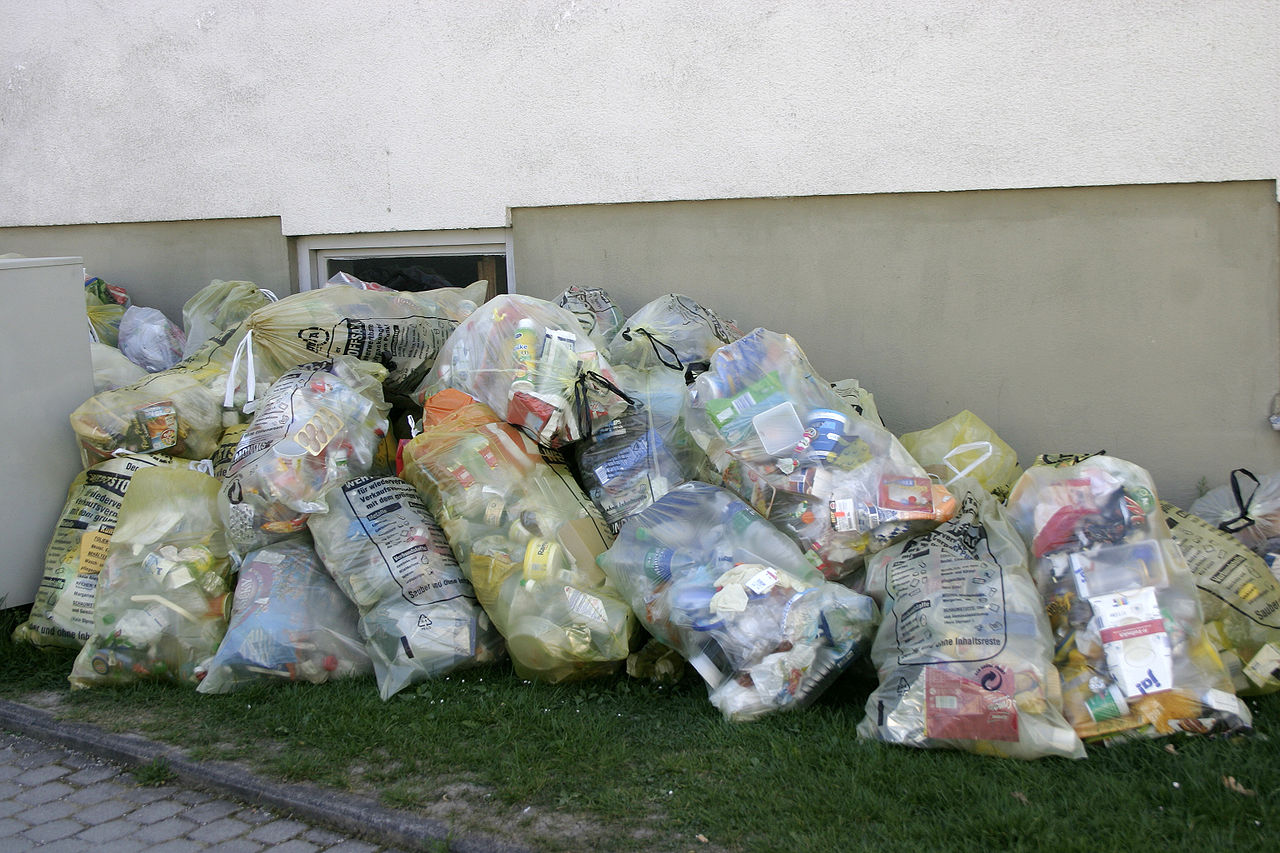 Collected plastic waste. Photo by Nino Barbieri Wikimedia Commons