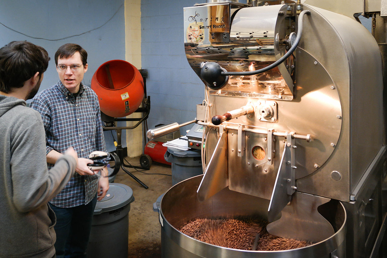 Conventional bulk coffee roaster. Photo by Visitor7  Wikimedia commons