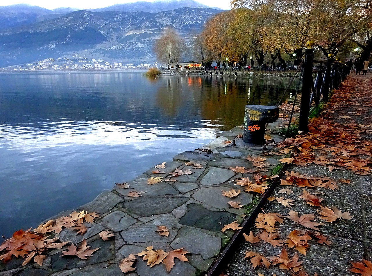 autumn at the lake of Ioannina by Effiedas Wikimedia Commons