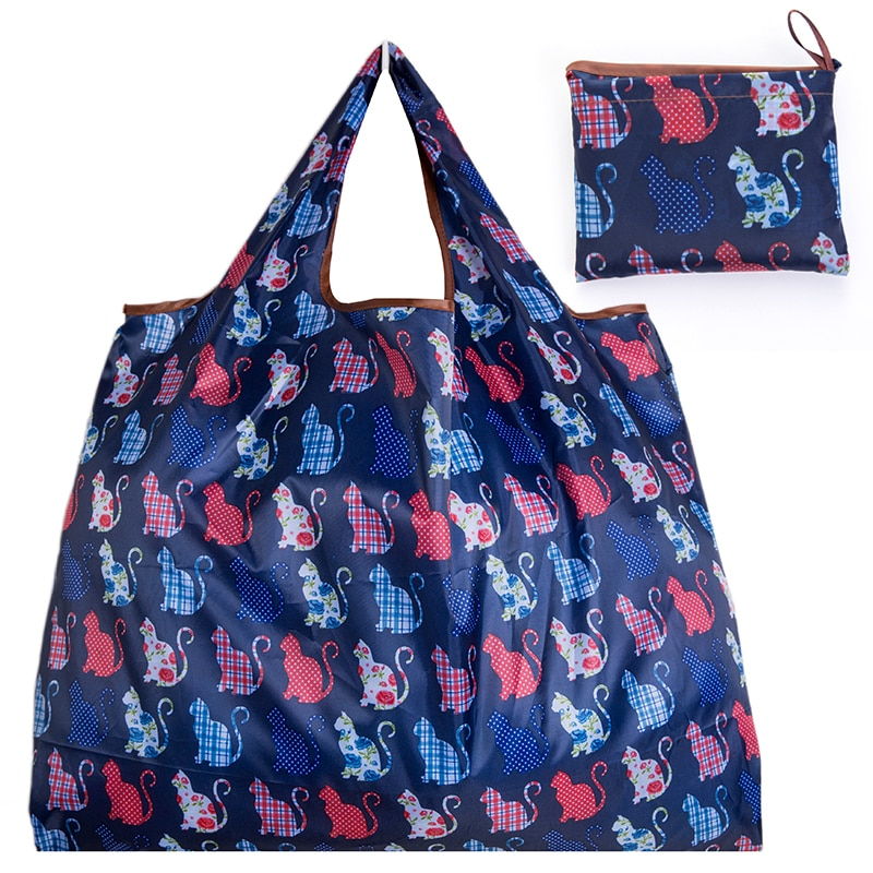 Foldable Shopping Bag - Reusable Tote Bag Sitting Cat