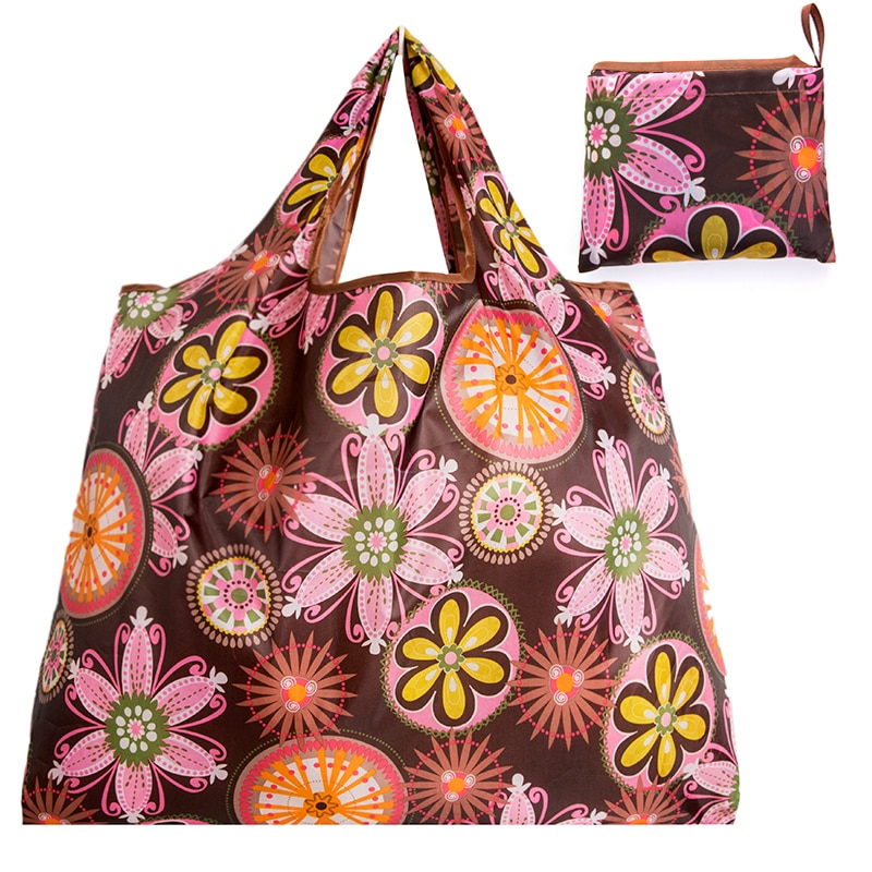 Foldable Shopping Bag - Reusable Tote Bag Pinky Flower