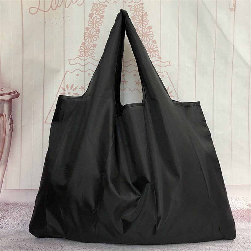 Wallet Foldable Shopping Bag - Reusable Tote Bag Pure Black