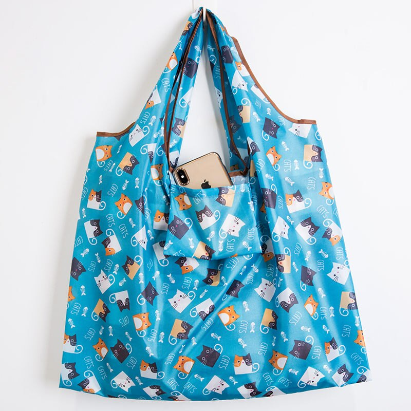 Wallet Foldable Shopping Bag - Reusable Tote Bag Cute Cat