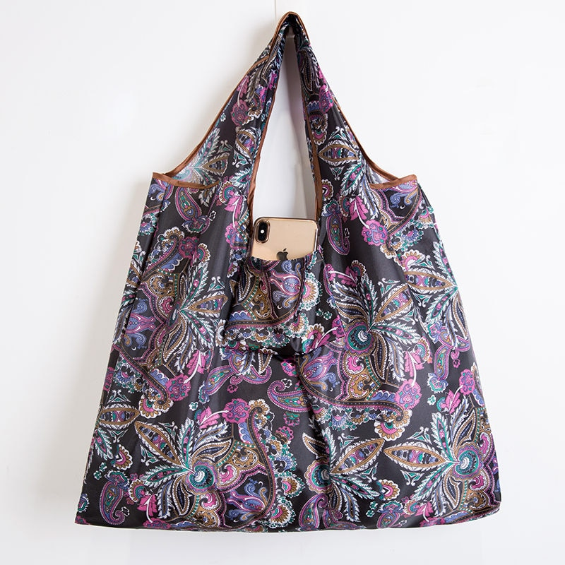 Wallet Foldable Shopping Bag - Reusable Tote Bag Violet Art
