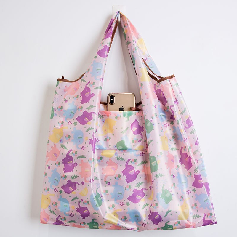 Wallet Foldable Shopping Bag - Reusable Tote Bag Elephant