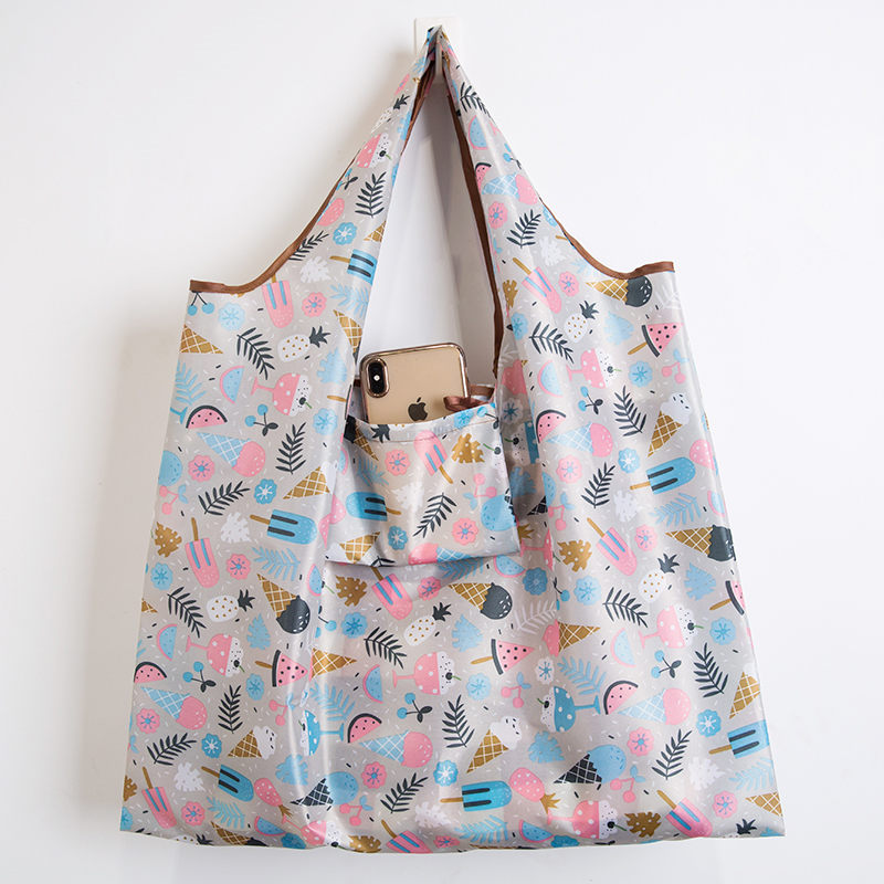 Wallet Foldable Shopping Bag - Reusable Tote Bag Ice Cream