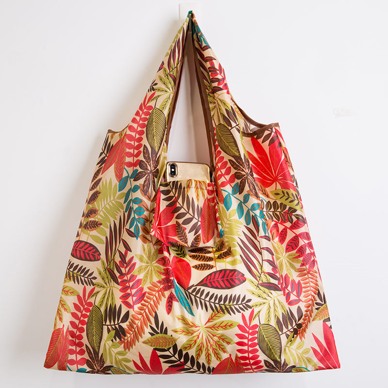 Wallet Foldable Shopping Bag - Reusable Tote Bag Cheerful Plant