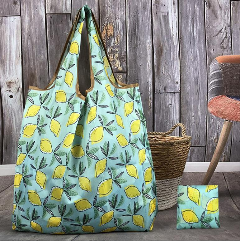 Wallet Foldable Shopping Bag - Reusable Tote Bag Lemon