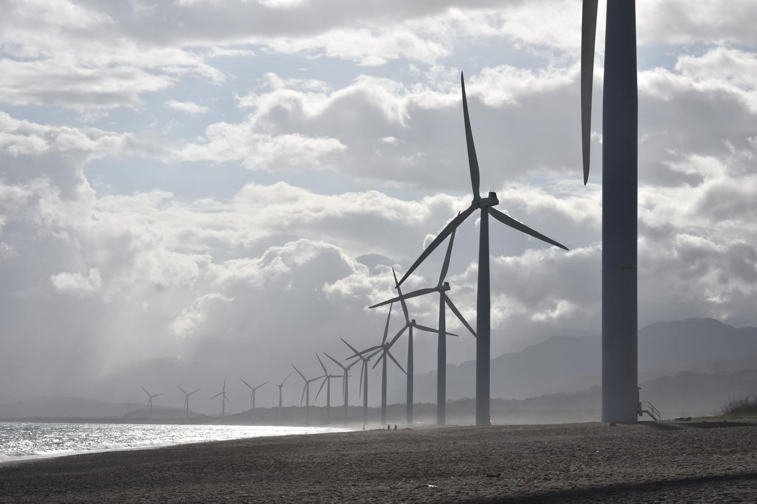 wind turbines on the coast