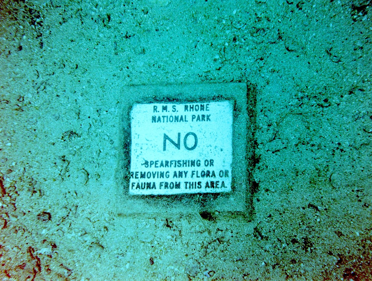 A sign on ocean floor prohibiting spearfishing or any kind of fishing. Photo by O'Dea at Wikimedia Commons