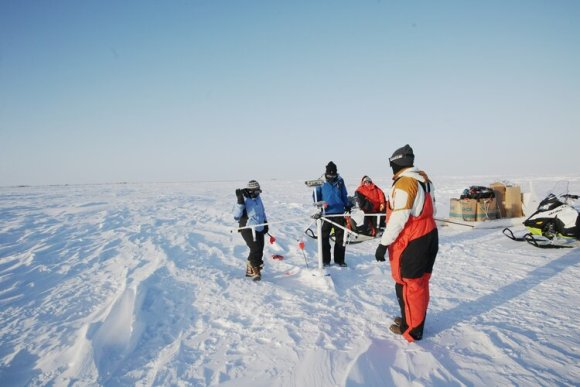 Ice911 team in arctic (Arctic Ice Project) glass
